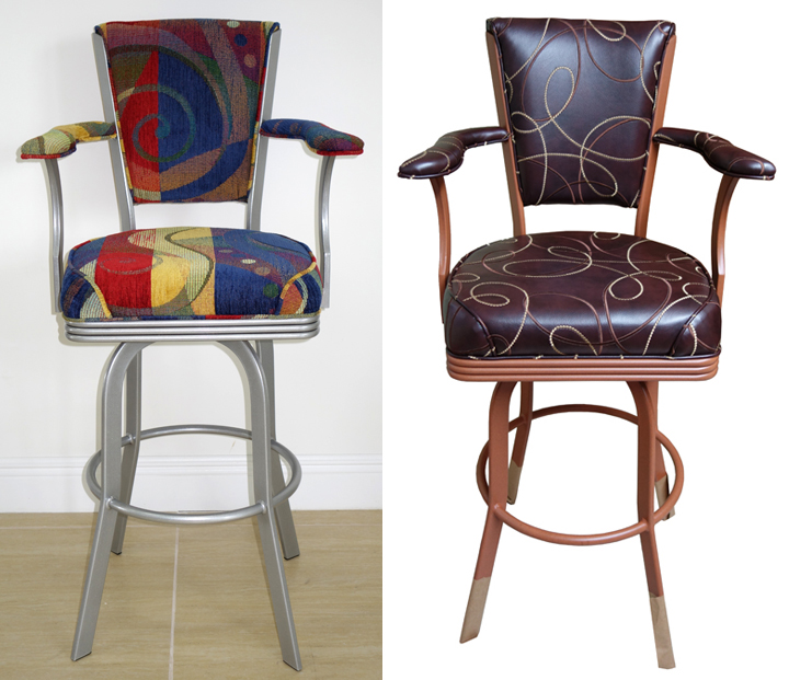 Modern Style, Swivel Stool with Arms and High Back image 2