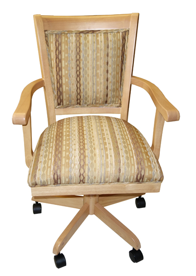 Wood Upholstered Caster Adj Height Chair