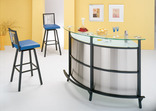 Stainless Steel Bar, Frosted Glass Top, Home Bar Furniture