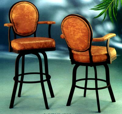 Modern Contemporary Swivel Chair and Stool with Arms