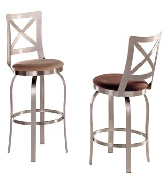 Stainless Steel Counter Stool w Flat Cris-Cross Backrest