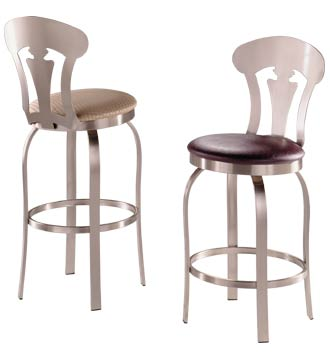 Commercial Quality, Swivel Stainless Steel Counter Stool, Wood Seat