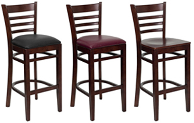Wood, Black or Burgundy Vinyl Seat
